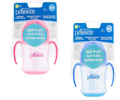 Dr Brown's Spill Proof Soft Spout Transition Cup Blue Or Pink