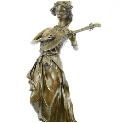 Signed Young Woman Playing Sweet Music Bronze Sculpture Statue Figurine