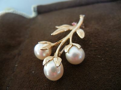 14k Yellow gold white pearl with ruby flower branch brooch pin 5cm long 6.1gr