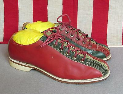 Vintage 1950s Brunswick Leather Womens Bowling Shoes Retro Red/Green/Tan Sz 7.5