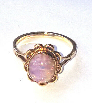 Vintage 9ct Gold Pink Precious Opal Ring