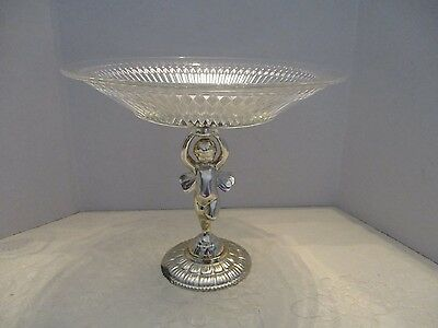 Glass Silver/Gold Plated Pedestal Cherub Compote Cookie/Candy Server Plate
