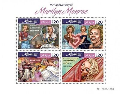 Z08 IMPERFORATED MLD16403a MALDIVES 2016 Marilyn Monroe MNH