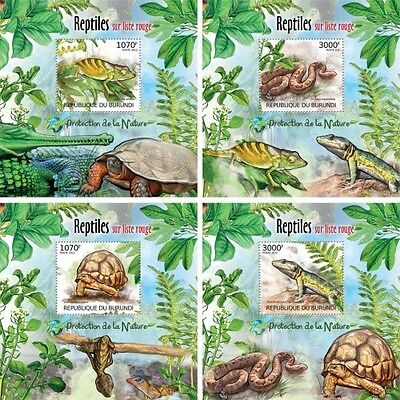 Z08 Imperforated BURdelux39 BURUNDI 2012 Reptiles 4 x s/s MNH