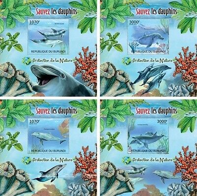 Z08 Imperforated BURdelux35 BURUNDI 2012 Dolphins 4 x s/s MNH