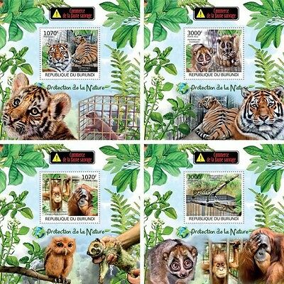 Z08 Imperforated BURdelux37 BURUNDI 2012 Trade in wildlife 4 x s/s MNH