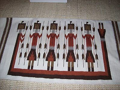 """Yei Symbol Corn Pictorial Rug Wall Hanging Textile Tribal Style Mexico 31"""" x 62"""""""