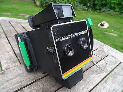 POLAROID Miniportrait & Passport Camera rainbow model rare now fully working