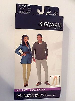 1 Pair SIGVARIS Medical Compression Stockings Open Toe Size MS 30-40mmHg Black