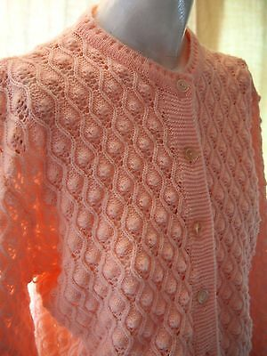 60s Mid Century Vintage Womens Pink Textured Cardigan Sweater Made in USA Large