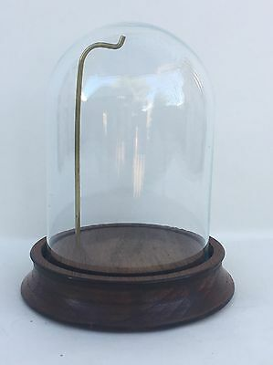 """Vintage Walnut 3"""" X 4"""" Glass Collectible Watch Display Dome, #5"""