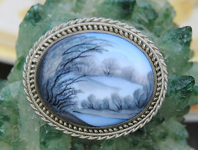 Russian Vintage (USSR) Finift Filigree Hand Painted Gorgeous Broach   WINTER