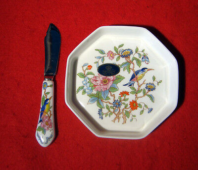 """AYNSLEY PEMBROKE BUTTER DISH 4-1/2"""" and SPREADER UNUSED"""