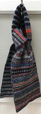 "J Crew crewcuts Kids Lambswool Navy Gray Stripe Multicolored Patterned 52"" Scarf"