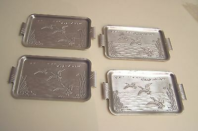 Vintage Set of 4 Brushed Aluminum Trays with Embossed Goose Scene