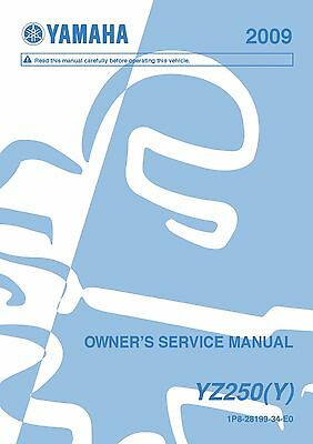 Yamaha owners service workshop manual 2009 YZ250(Y)