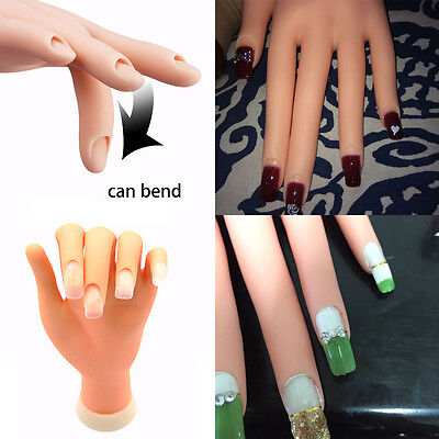 Soft Movable False Left Hand for Nail Art Design Display Practice Training Tips