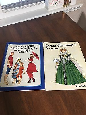 2 Tom Tierney Paper Doll Books American Family & Queen Elizabeth
