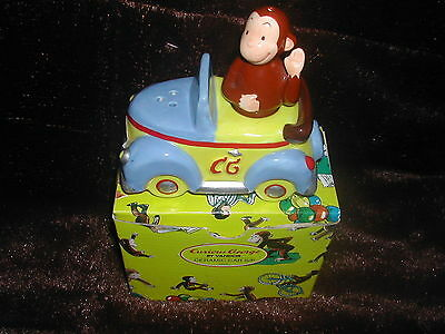 "New Curious George Ceramic Car Salt/pepper 4"" Vandor 1997 #44030"
