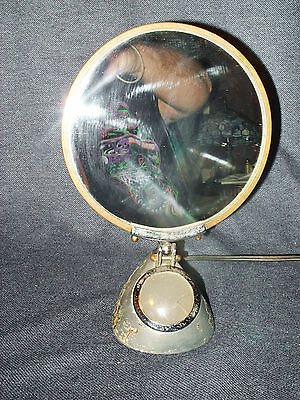 Rare 1920's/30's Industrial Lighted Metal Make-up Mirror Very Steampunk Cool