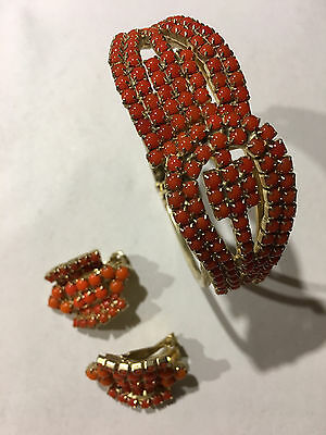 Vintage Clamper Bracelet And Matching Earrings Prong Set Coral Color Excellent