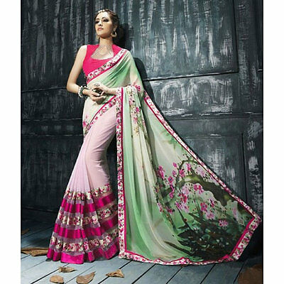 USA designer saree with unstitched blouse piece