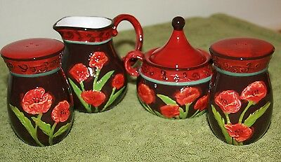 Beautiful Poppy Salt And Pepper With Sugar Bowl And Creamer No Chips Or Cracks