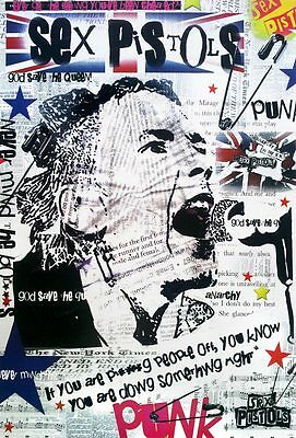 "Sex Pistols 1975-2008 POSTER 23""x34"" English Punk Rock Grahpic Collage God Save"