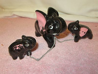 Vintage Redware Mama Elephant & 2 Babies Figurine - Connected w/Chains