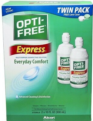 Pack of 2 10 oz bottles Opti-Free Express Everyday Comfort Disinfecting Solution