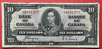 1937 Bank of Canada $10 Note  JT 4891977 Coyne Towers   Fine