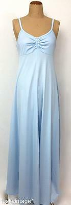 VINTAGE 70s POWDER BLUE strappy rouched bust A line drape MAXI DRESS gown 8 10