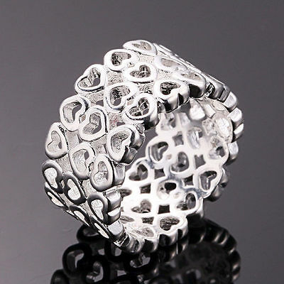 925 Sterling Silver Filled Heart Ring Women Charm Fashion Jewelry Size 6 7 8
