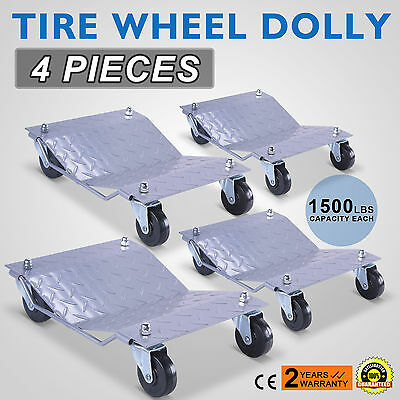 "Set of (4) Auto Dolly Wheel Tire 12""x16"" Skate Castor 1500Lbs/Pc Vehicle Silver"