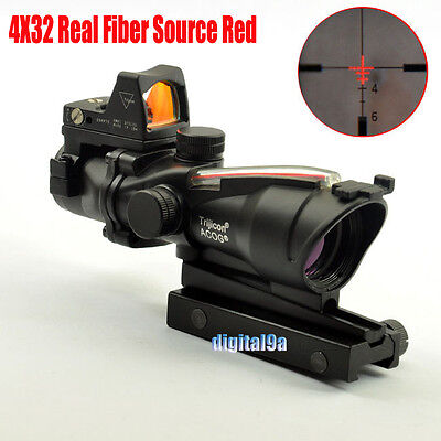 Tactical ACOG 4X32 Real Fiber Red Illuminated Scope w/ RMR Micro Red Dot