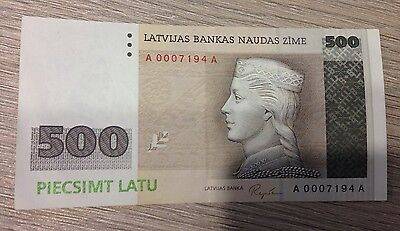 500 Latvian lats note, AA series, 3064th note. Very rare, VF++