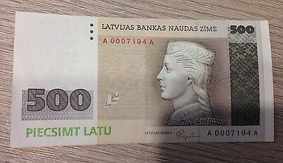 500 Latvian lats note, AA series, 7194th note. Very rare