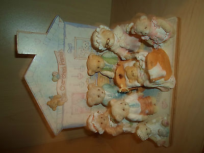 9 Piece Cherished Teddies 'Family' Display Set, comprises 1 house and 8 Teddies