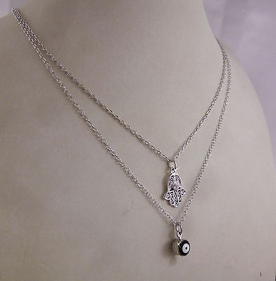 18k 18ct White Gold GF Evil Eye and Hamsa Layered Multi Chain Necklace 18k gf