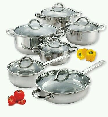 Cook N Home 12-Piece Stainless Steel pots and pans Set cookware set