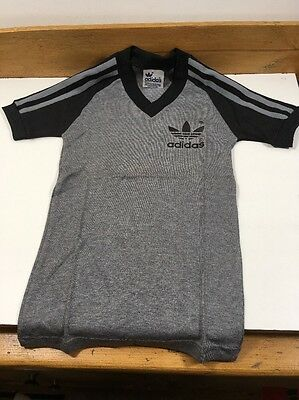 VINTAGE 1970s 1980s Adidas Trefoil T-shirt Boys Rare Football Shirt Grey Black