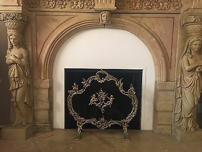 Antique French Rococo Brass Fireplace & Mantels Fire Screen With Putti