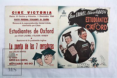 Stan Laurel & Oliver Hardy - A Chump at Oxford - Cinema Advertising Leaflet