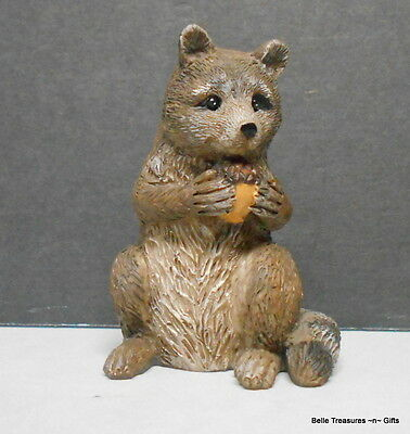 Raccoon  with Acorn Resin Figurine