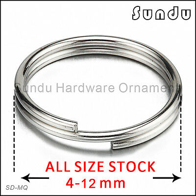 Wholesale 4-20mm Stainless Steel  Split Key Ring Hook Silver Color Fishing Solid
