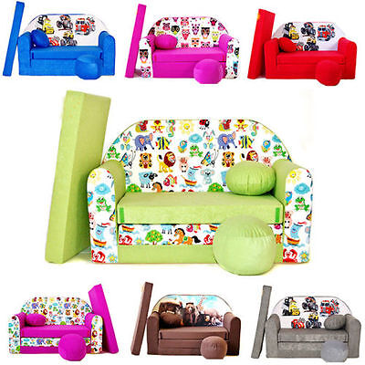 Childrens Foam Sofa Bed  [pillow and pouffs included]  Convertible Sofa BED