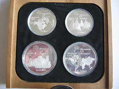 Canada 1976 Olympic Games Montreal 4 coin silver PROOF 1973 set Series I Box COA