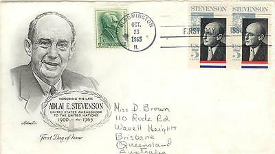 USA First Day of Issue pair 5c Stevenson to Australia Posted Bloomington IL