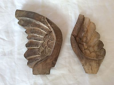 Vintage Carved Wood WIngs Church Architectural Antique Salvage