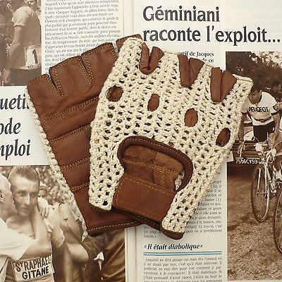 Superb Vintage Style, Tan Lambskin Cycling Gloves with Cream Crochet Cotton Back
